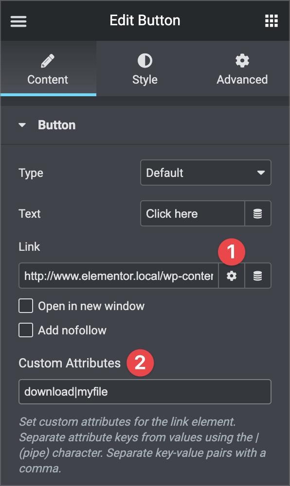 edit button custom attributes