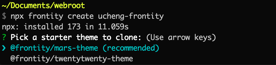 frontity select theme